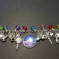 Disney fairy tales themed stainless steel charm bracelet