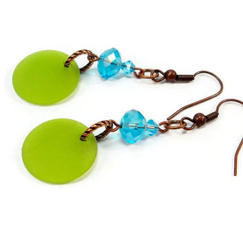 Green Sea Glass and Copper Earrings, Summer Spring Jewelry, Aqua Blue Crystals, Drop Earrings