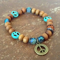Boho Hippie Chic Peace Bracelet Sandalwood Rudraksha Turquoise Peace Faceted Glass Beads