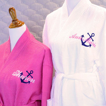 Bridesmaid Gift Robe Personalized with Anchor & Name waffle weave monogram robe