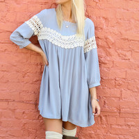 Celestial Cloud Gray Babydoll Dress With Crochet Lace & Keyhole Back