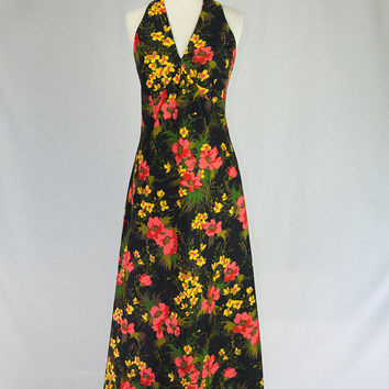Vintage 1970's Halter Maxi Dress Wild Floral Print Day Glow Colors