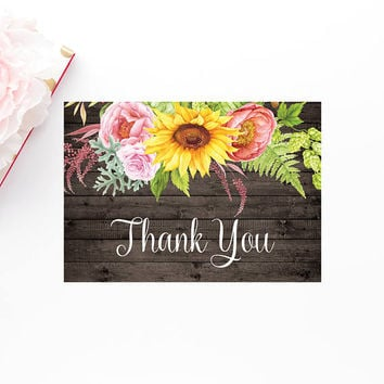 Rustic Sunflower Thank You Card, Printable Watercolor Thank You Card, Sunflower Thank You Card, Printable Floral Wedding Thank You Note