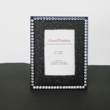 Black & Bling Picture Frame - Sparkling black eco felt w/ clear rhinestones