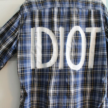 """5 Seconds of Summer 5SOS Michael Clifford Inspired """"IDIOT"""" Flannel Mens M"""
