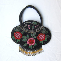 Vintage Chinese black and red glass beaded rose evening bag with bead fringe
