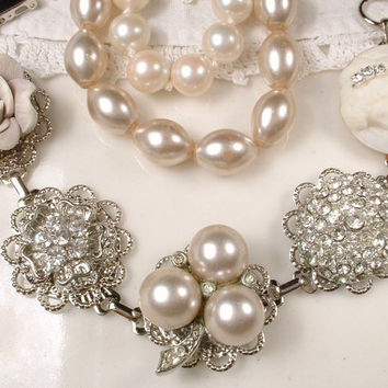 Ivory Oyster Pearl & Rhinestone Bridal Bracelet Silver Antique 1920s Neutral Cluster Earring Great Gatsby Vintage Wedding Bridesmaid Gift