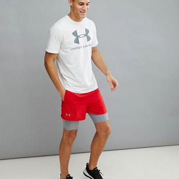 Under Armour Training Qualifier 2-In-1 Shorts In Red 1289625-600 at asos.com