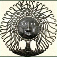 Haitian Steel Drum Metal Art Wall Hanging - Wild Haired Mamma - 24""