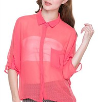 Solid Colors Dolman 3/4 Roll Up Sleeve Chiffon Sheer Hi-Low Hem Button Down Shirt Blouse