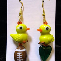 Football Earrings, Oregon Ducks Earrings, GO DUCKS,Lampwork Cute Ducks, Football, Green Glass Heart