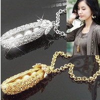 The cute classic full drill Princess and the Pea necklace sweater chain [1152] - $3.23 : Favorwe.com Supply all kinds of cheap fasion jewelry