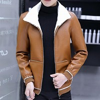 Men with velvet furs of new fund of 2018 autumn winters is recreational the PU leather jacket Fur with thick coat