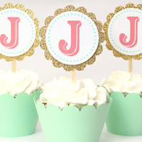 Custom Gold Glitter Cupcake Toppers Mint Pink Coral Party Supplies Personalized Monogram Letter Cupcake Toppers Girls Birthday Party