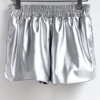 Chic Side Slit Leather Shorts - OASAP.com