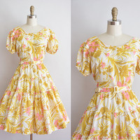 vintage 1950s dress / yellow and pink floral dress / 50s full skirt dress