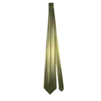 Abstract Golden Green Steady Lights Pattern Tie