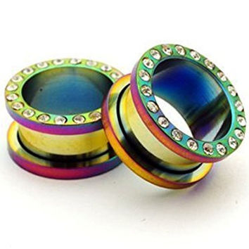 "Rainbow Steel Cz Screw on Tunnels - 5/8"" - 16mm - Sold As a Pair"