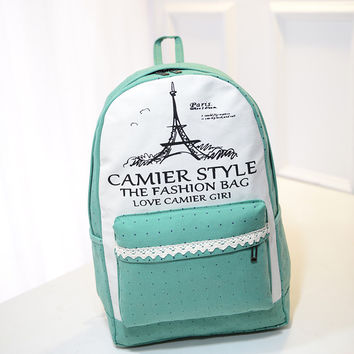 Lace Detail Print Fashion Backpack School Bag