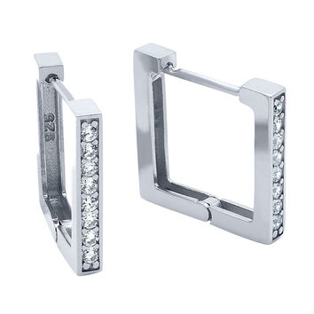 .925 Sterling Silver Nickel Free Rhodium Plated 17mm Square Huggie Earrings With 1.75mm Cubic Zirconia Pave