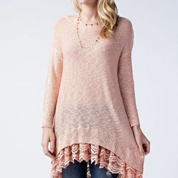 knit sweater with lace trim hem