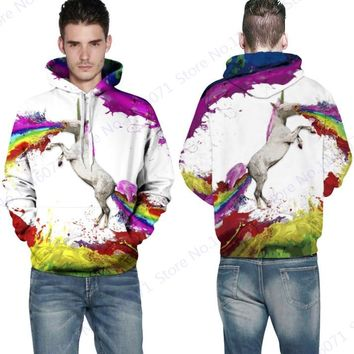Rainbow Horse Hooded Sweatshirt Colorful Unicorns Skateboarding Hoodies Sweatshirt Men White Jumper Sweater Pocketed Full Sleeve
