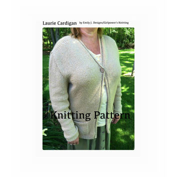 Laurie Cardigan Knitting Pattern, Long Sweater, Single Button, Worsted Aran Yarn