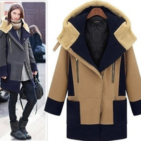 Casual Color Block Zipper Front Hooded Jacket