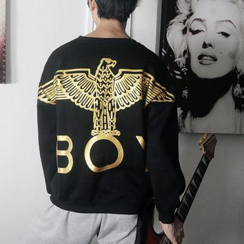 Boy Fashion Casual Print Long Sleeve Round Neck Pullover Sweater Golden