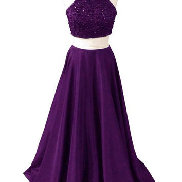 Two Pieces Long Beaded Purple Beauty Prom Dresses 2016 OK28
