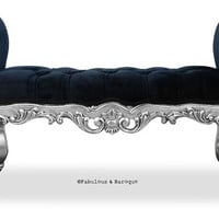 Silver Leaf Upholstered Absolom Roche Bench
