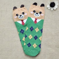 FunShop Woman's Mr Bear and Mr Panda Pattern Cotton Ankel Socks in 2 Colors Bear D1117