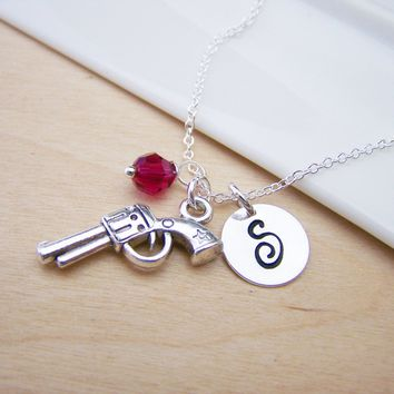 Gun Pistol Revolver Charm Swarovski Birthstone Initial Personalized Sterling Silver Necklace / Gift for Her