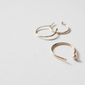 skinny nose ring - YELLOW or ROSE 14k solid gold or SILVER - 22g - can be faux or fake nose ring too
