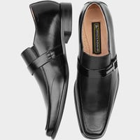 STACY ADAMS BLACK SLIP-ON SHOES