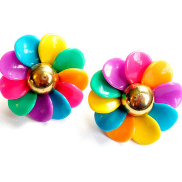 Vintage Flower Earrings Colorful Rainbow Oversized Big Large Petals  1980s 80s Neon Colors Pierced Post Plastic Acrylic Kitschy Summer