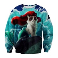 Ninimour- Animal Patterns Print Pullover Sweatshirt Sweaters (S, Ariel Cat)