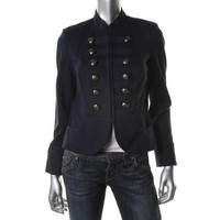 INC Womens Petites Ponte Mandarin Collar Military Jacket