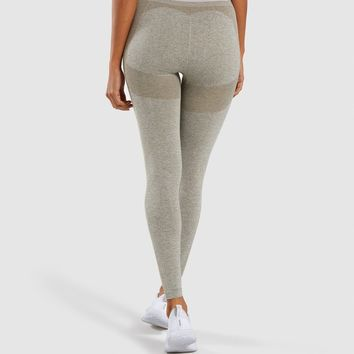 Gymshark Flex High Waisted Leggings - Washed Khaki Marl/Blush Nude