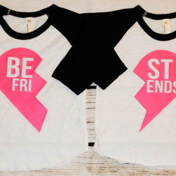 Best Friend heart shirts set - twin shirt - twin gifts