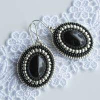Black Silver Earrings, Sterling Silver 925, Stone Earrings, Embroidered Earrings, Christmas Gift, Antique Earrings, Silver Earrings, Gift