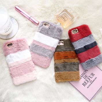 BINYEAE Fashion Warm Winter Fluffy Rabbit Fur Cases For iPhone 8 Plus Case Hit Color Soft TPU Silicone Cover For iPhone 8 Case