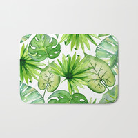 tropical leaves Bath Mat by sylviacookphotography