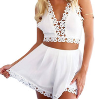White Lace Embellished Co-ords Suits