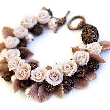"Floral Bracelet ""Nude"" Roses Polymer Clay Beige Brown Ivory Creme Flowers Beige Bracelet Rusteam Romantic Jewelry Neutral Colors Feminine"