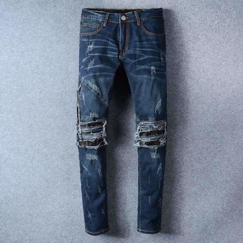 France Style #501# Mens Distressed Embellished Ribbed Stretch Moto Pants Biker Blue Jeans Slim Trousers Size 28-42