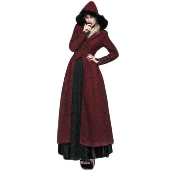 Punk Gothic Grained Woolen Long Coat With Hat Winter Windproof Elegant Female Coat Hooded Long Trenches Women's Coats Red Color