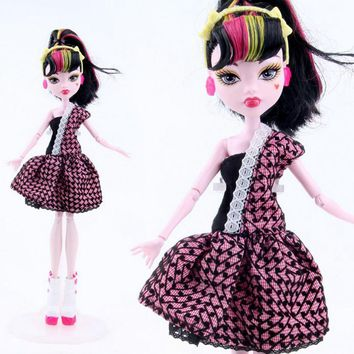 NK One Set  New Arrival Handmade Cortical Clothes & Sportswear Fashion Dress For Monster High Doll  For  BJD Dolls Best Gift 09A