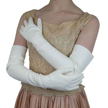 Long White Italian Leather Gloves Lined in Silk, 16 button length  (NSP)