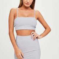 Missguided - Grey Bandage Ribbed Co Ord Bralet